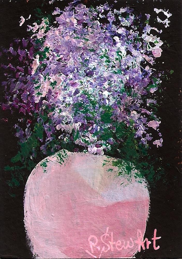 """ACEO Lavender Flowers in a Pot Soft colors, Lilacs and Pinks, Original Art"" original fine art by Penny Lee StewArt"