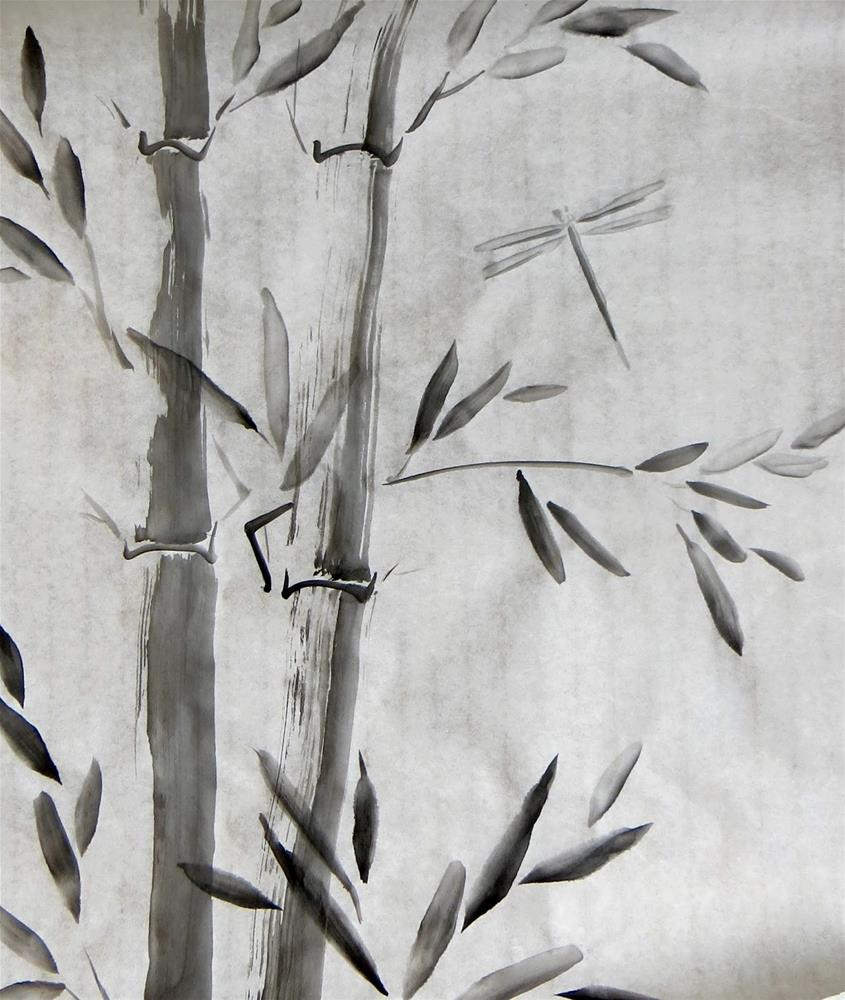 """Bamboo and Dragonfly"" original fine art by Tammie Dickerson"