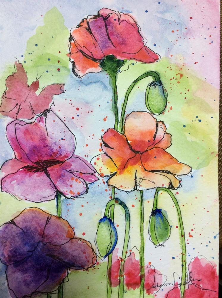 """""""Poppies in color"""" original fine art by Sharon Cullen"""