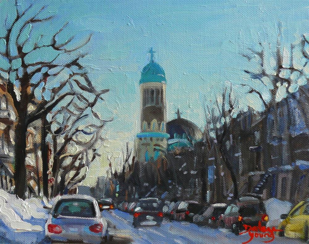 """905 Montreal Winter Scene, St Urbain, oil on board 8x10"" original fine art by Darlene Young"