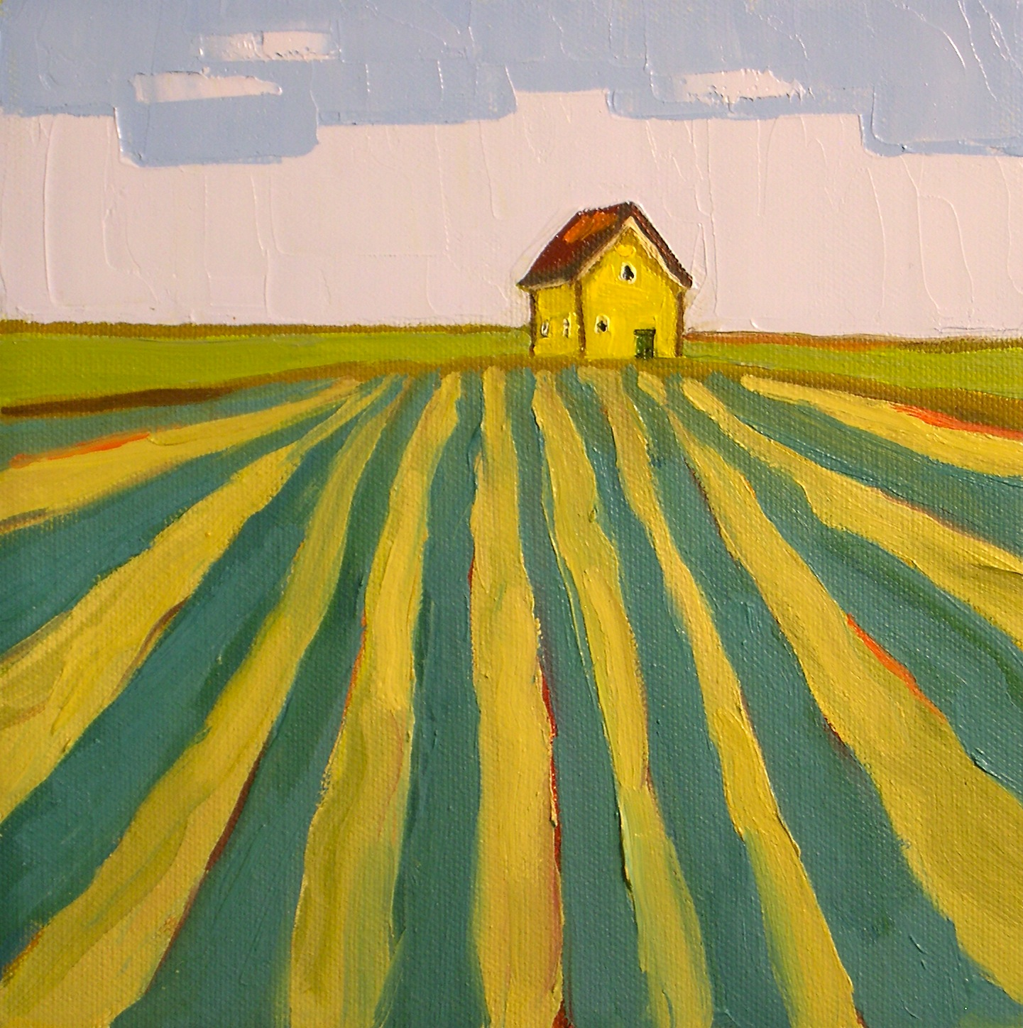 """Golden Farmhouse"" original fine art by Donna Walker"
