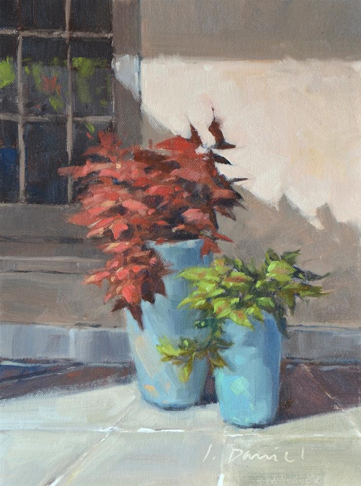 """Courtyard Color - En Plein Air Texas!"" original fine art by Laurel Daniel"