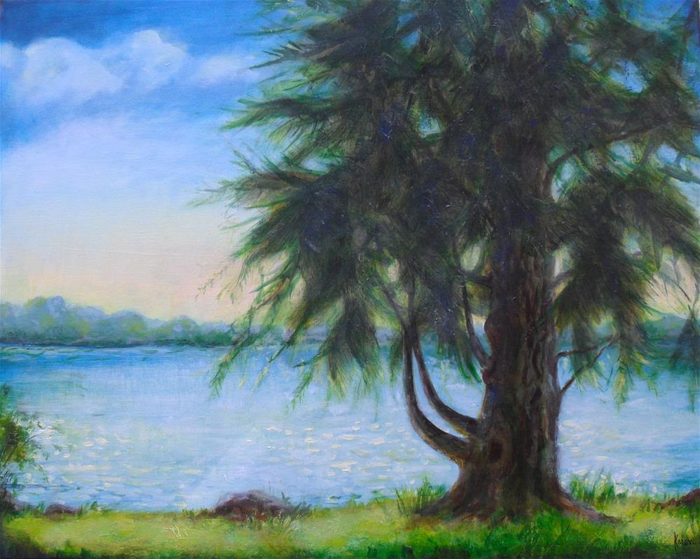 """Lake Cadillac"" original fine art by Karen Roncari"