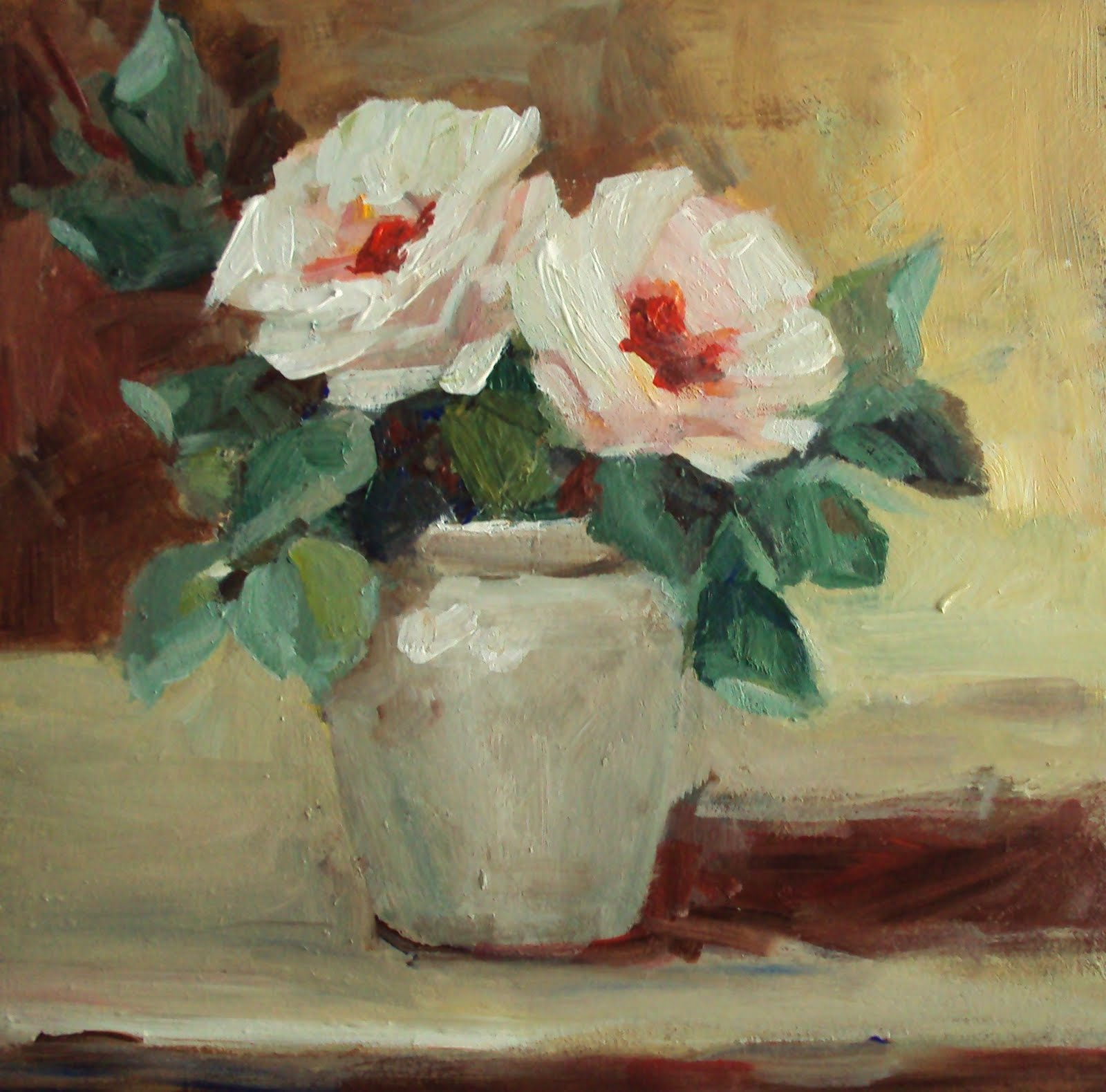 """roses in a pot"" original fine art by Parastoo Ganjei"