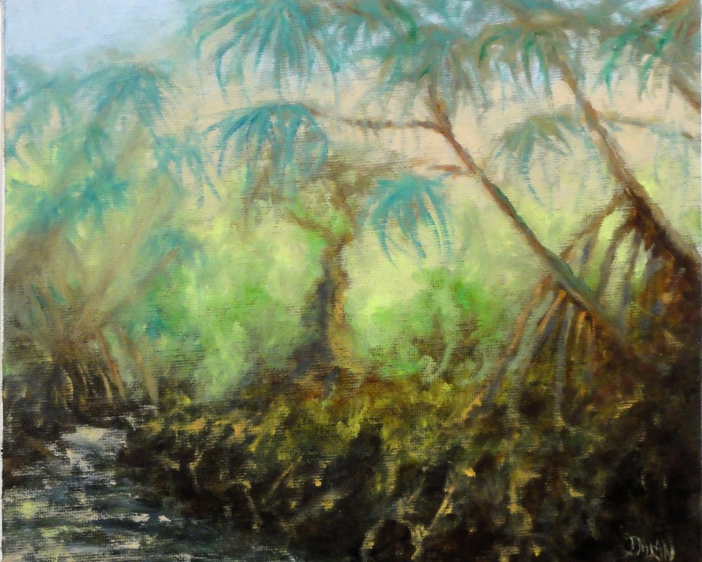 """Tropical Stream with Pandanus Trees"" original fine art by Dalan Wells"