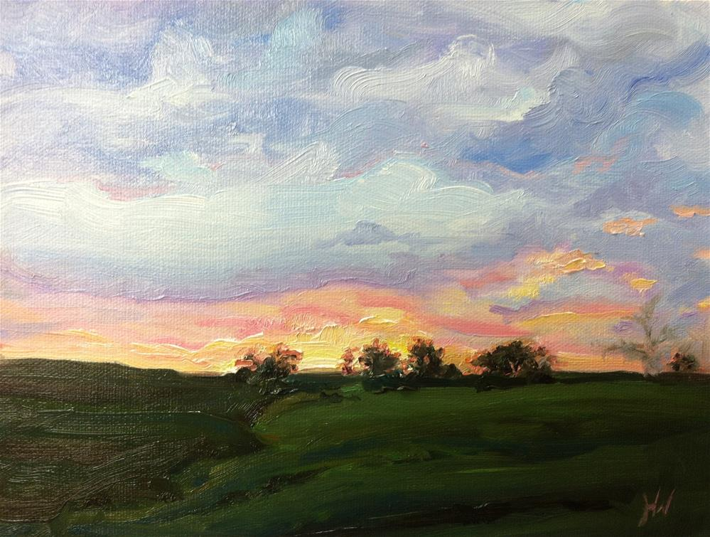 """Midwest Sunset 2"" original fine art by H.F. Wallen"