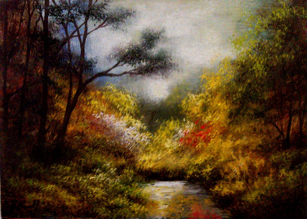 """The Garden Around the Pond"" original fine art by Bob Kimball"