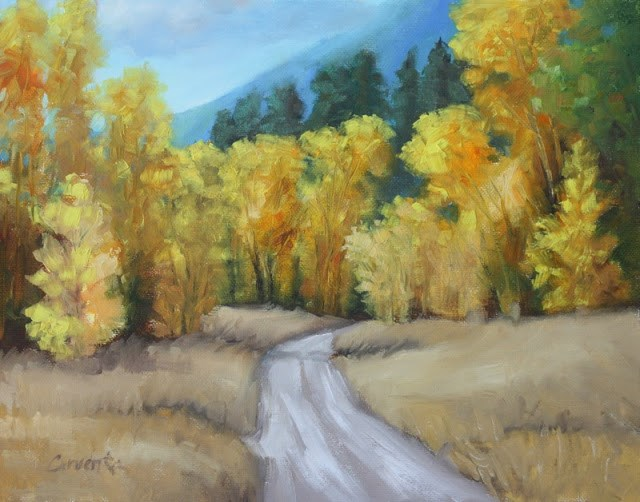 """Aspen Ranch Road landscape oil painting"" original fine art by Sue Cervenka"