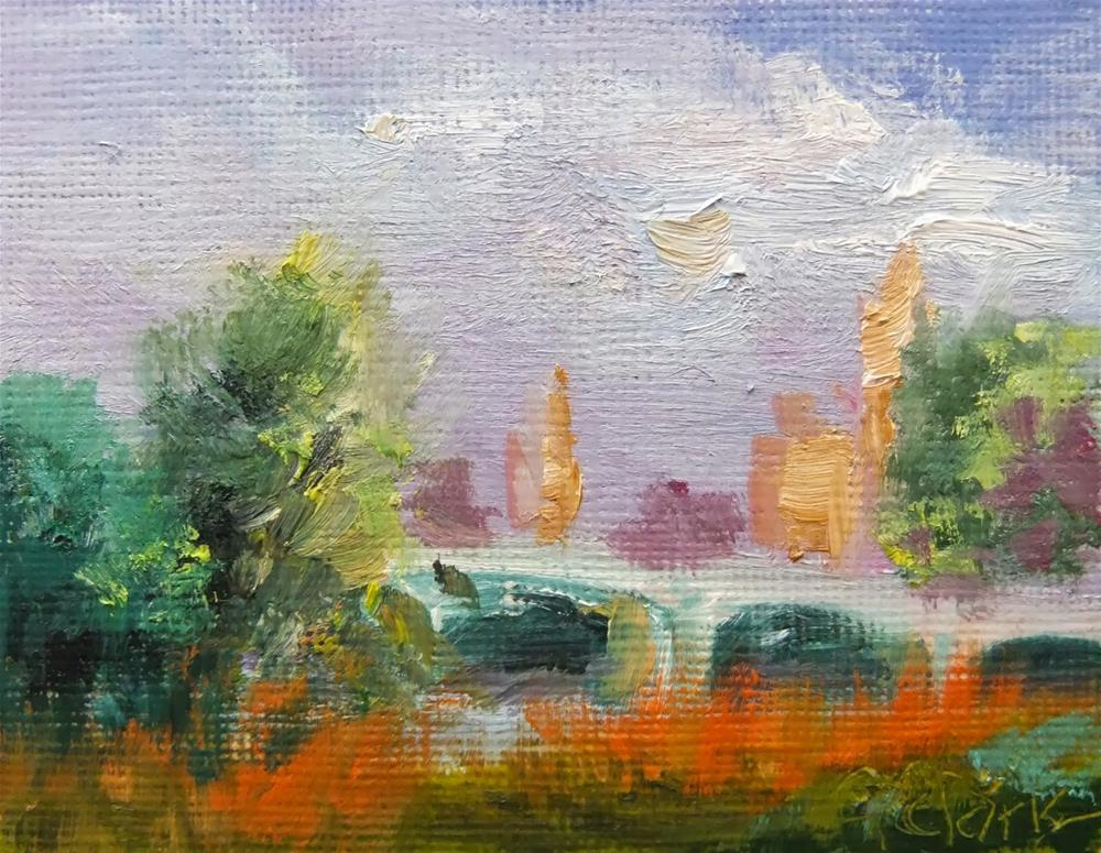 """Treasure Isle Sunset_2.5 x 3.5 OIL_landscape"" original fine art by Donna Pierce-Clark"