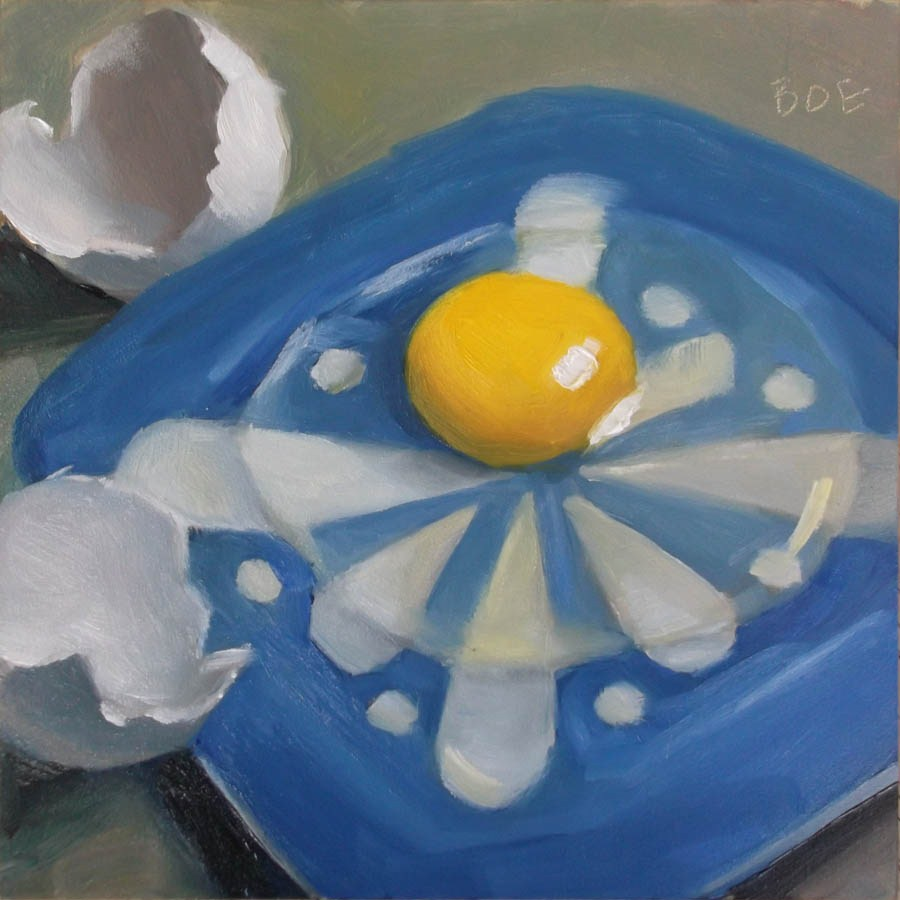 """Egg Over Blue"" original fine art by Karen Boe"