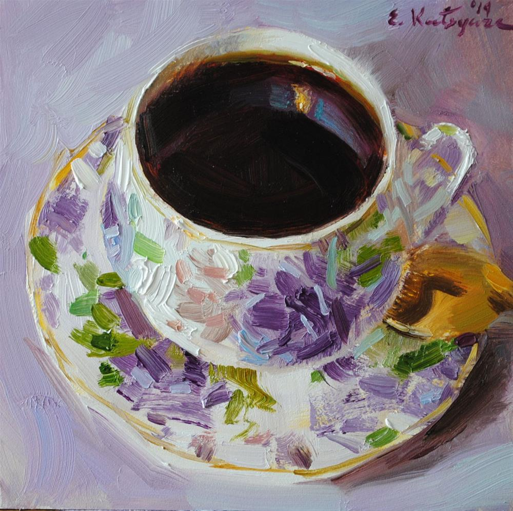 """Black Coffee on Lilac"" original fine art by Elena Katsyura"