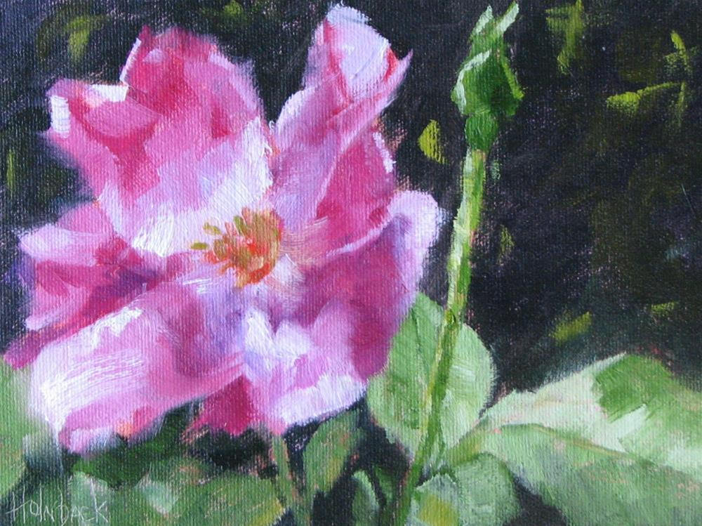 """""""Back Yard Tea Rose"""" original fine art by Pam Holnback"""