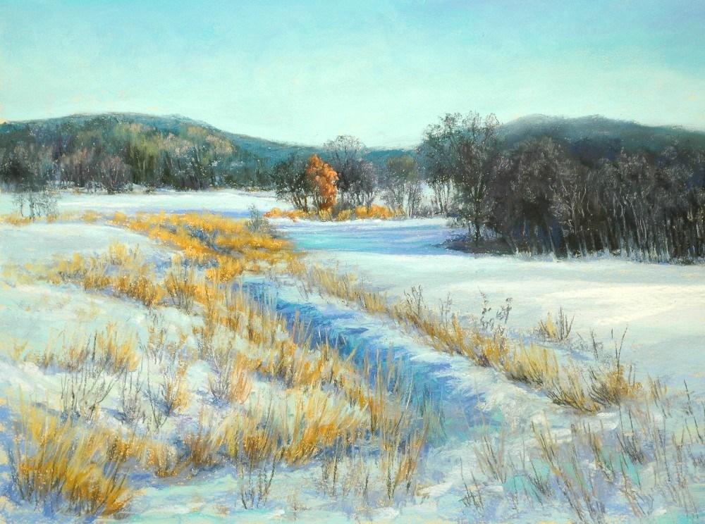 """Winter Farm Ditch"" original fine art by Susan Klabak"