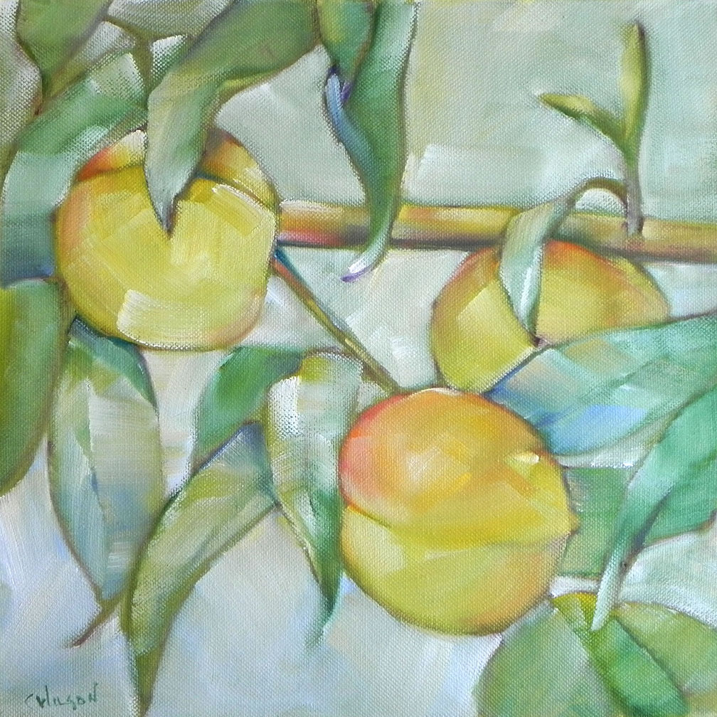 """Three Peaches"" original fine art by Cheryl Wilson"