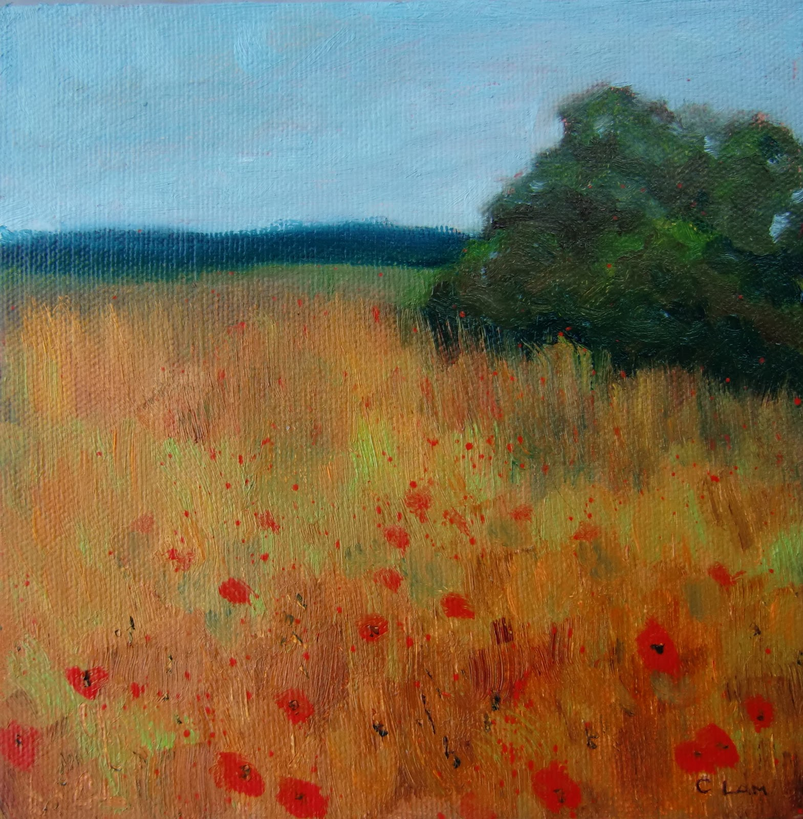 """Poppies in Field"" original fine art by Ceci Lam"
