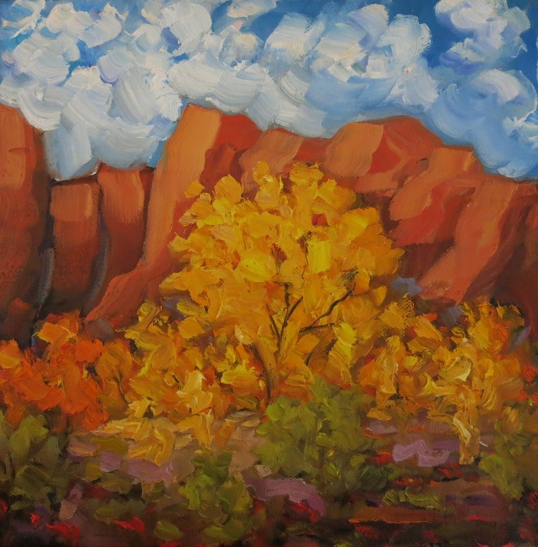 """AUTUMN COTTONWOODS"" original fine art by Dee Sanchez"
