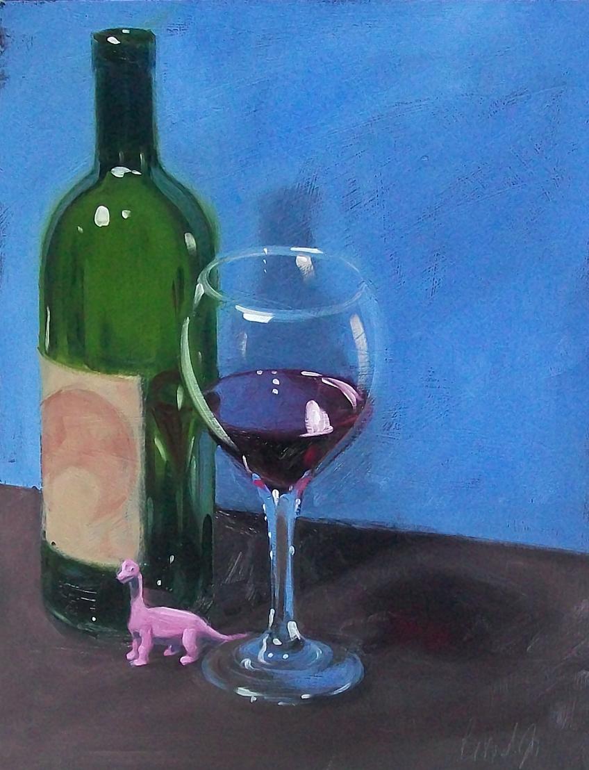 """pink dinosaur"" original fine art by Brandi Bowman"