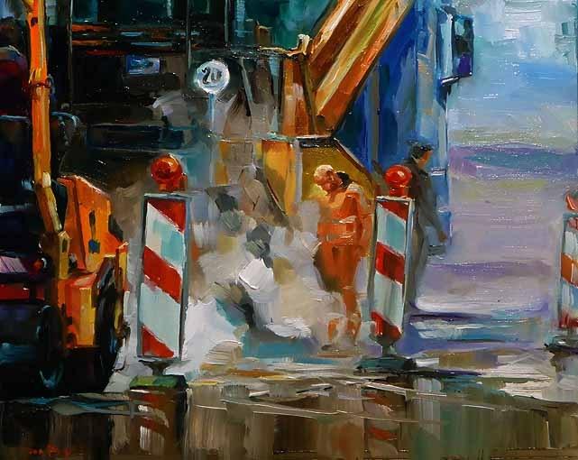 """""""der Arbeitstag"""" original fine art by Jurij Frey"""