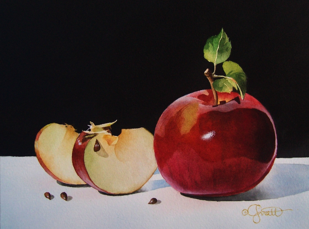 """Four Apple Seeds"" original fine art by Jacqueline Gnott, whs"