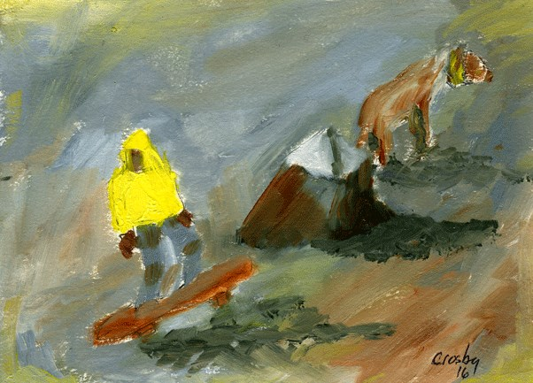"""Skateboard and Dog"" original fine art by Donna Crosby"