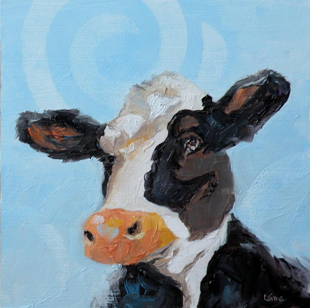 """COW CIRCLES ORIGINAL 4X4 MINI OIL OF A COW © SAUNDRA LANE GALLOWAY"" original fine art by Saundra Lane Galloway"