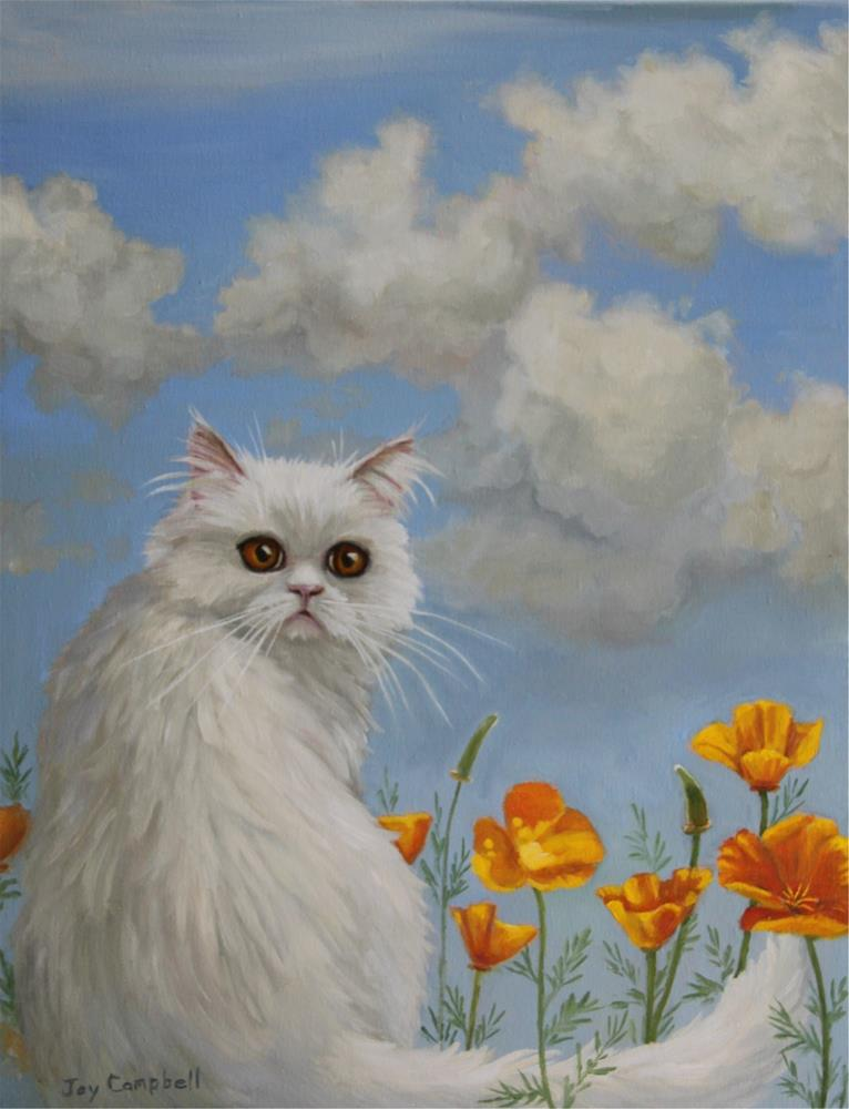 """""""Fluffy with Poppies"""" original fine art by Joy Campbell"""