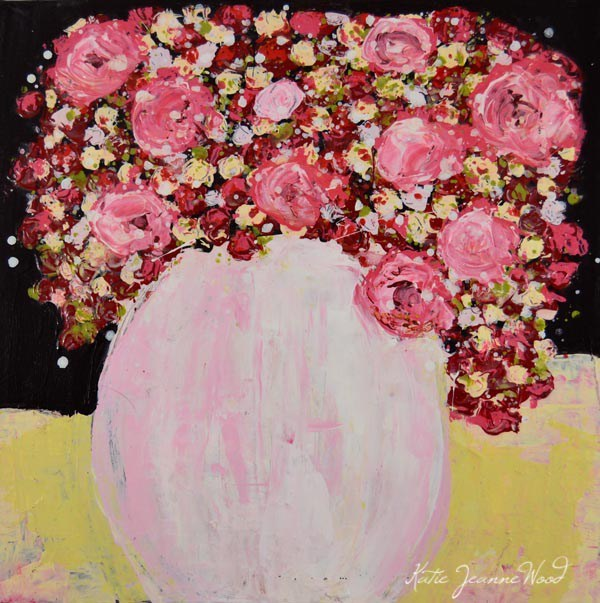 """Pink and yellow acrylic floral painting No 229"" original fine art by Katie Jeanne Wood"