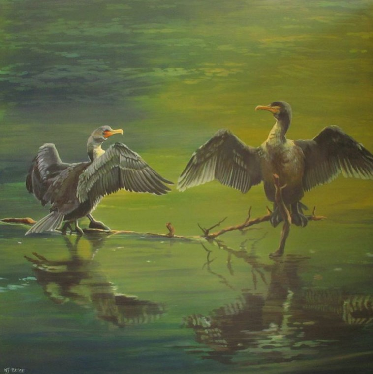 """""""Original Wildlife, Bird, Landscape Painting  Cormorants, Drying Their Wings on the Madison River b"""" original fine art by Nancee Busse"""