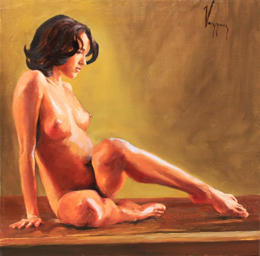 """Seated nude"" original fine art by Marco Vazquez"