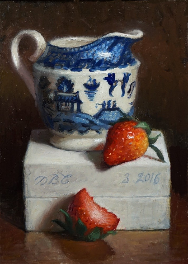 """Sweet Strawberries and Creamer"" original fine art by Debra Becks Cooper"