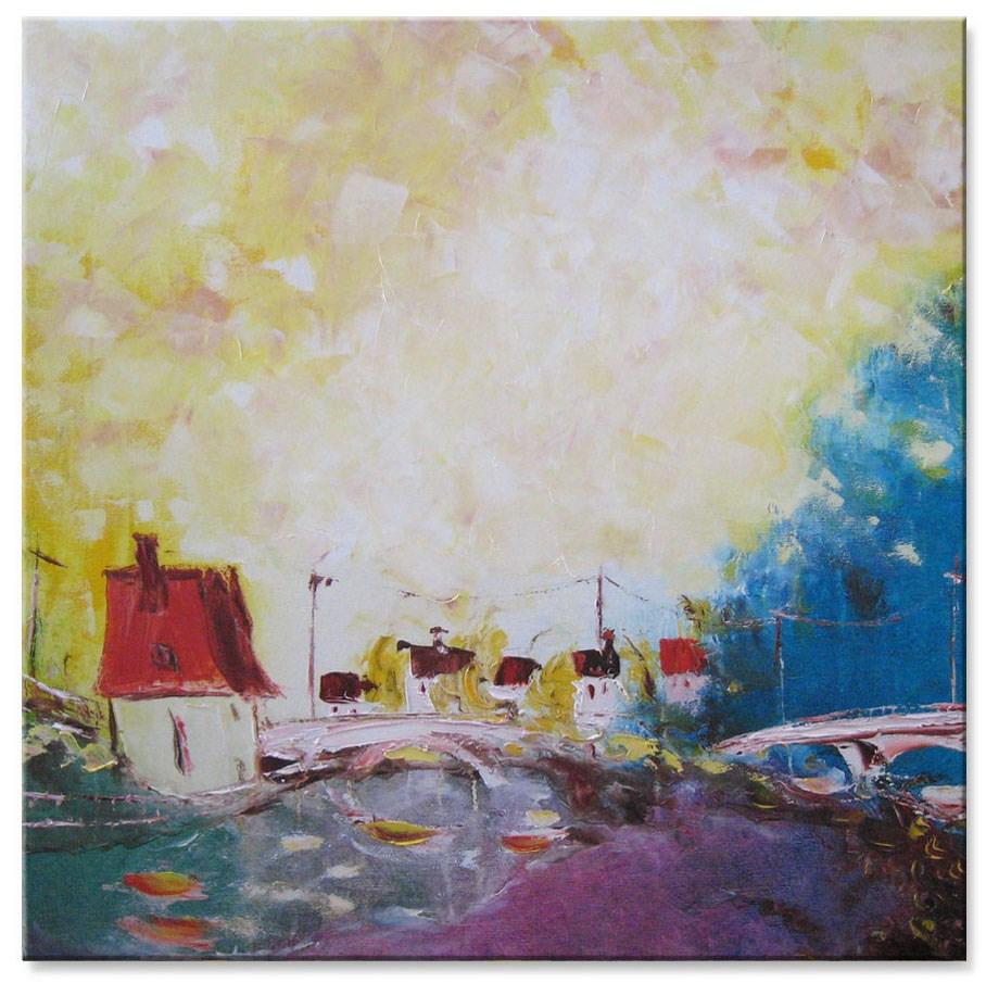 """Pink bridge"" original fine art by Elena Lunetskaya"