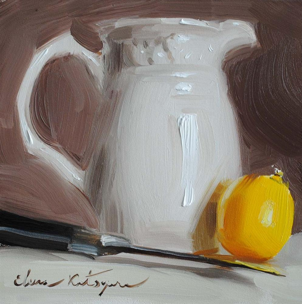 """Jug and Lemon"" original fine art by Elena Katsyura"