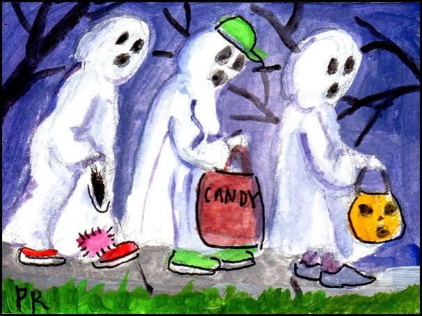"""3 Wild and Crazy Ghosts"" original fine art by Patricia Ann Rizzo"
