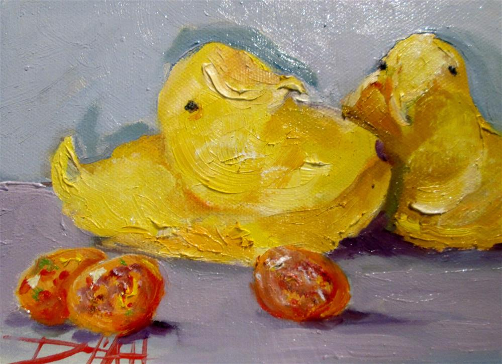 """Peeps and Candy Eggs"" original fine art by Delilah Smith"