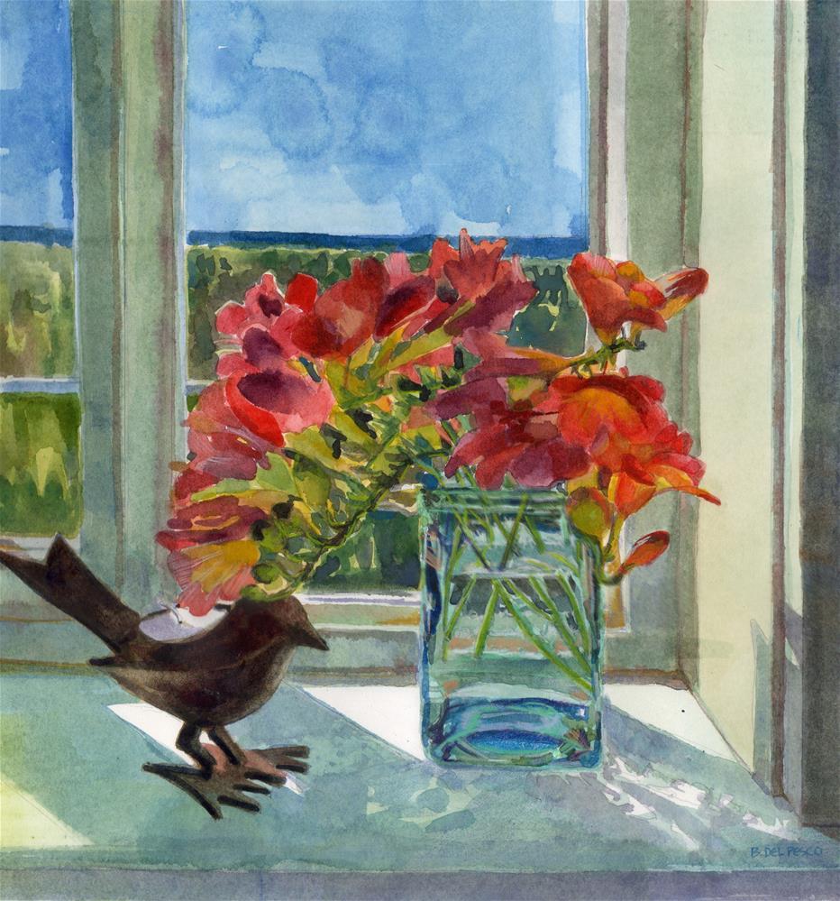 """""""Watercolor: Hope's Freesia (& 2 upcoming art festivals)"""" original fine art by Belinda Del Pesco"""