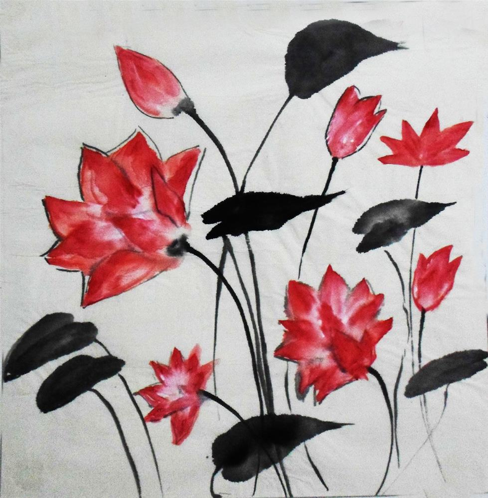 """Bunch of lotuses"" original fine art by Asha Shenoy S"