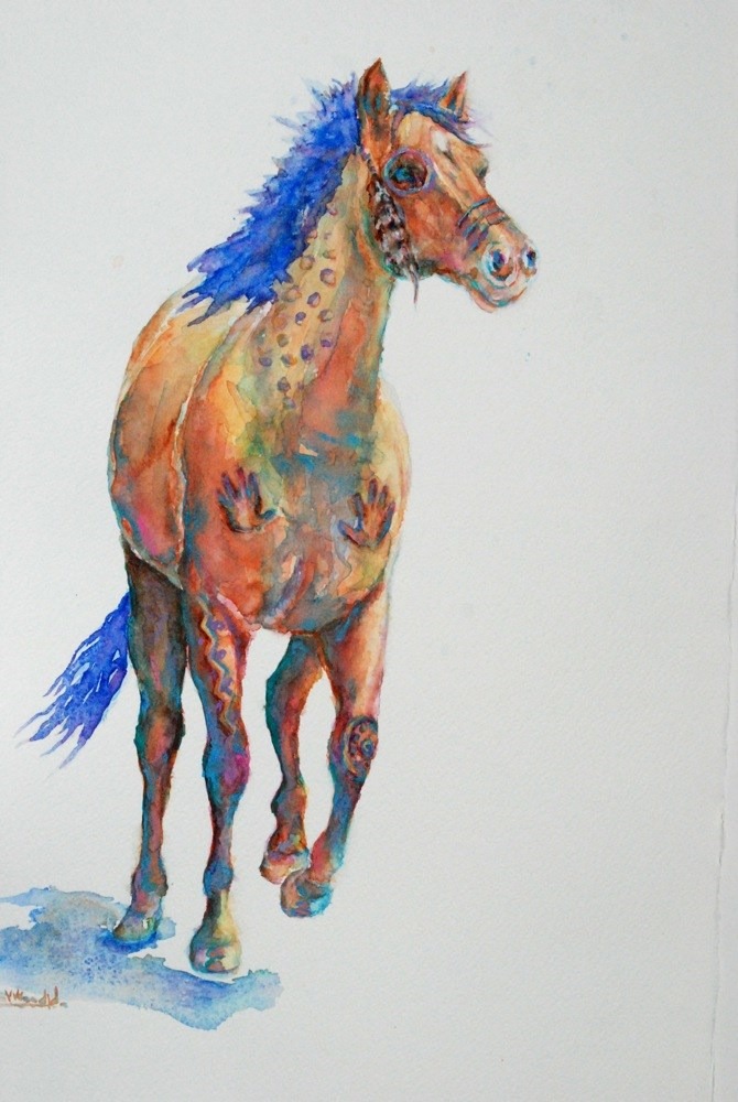"""war pony (large)"" original fine art by Vicki Wood"