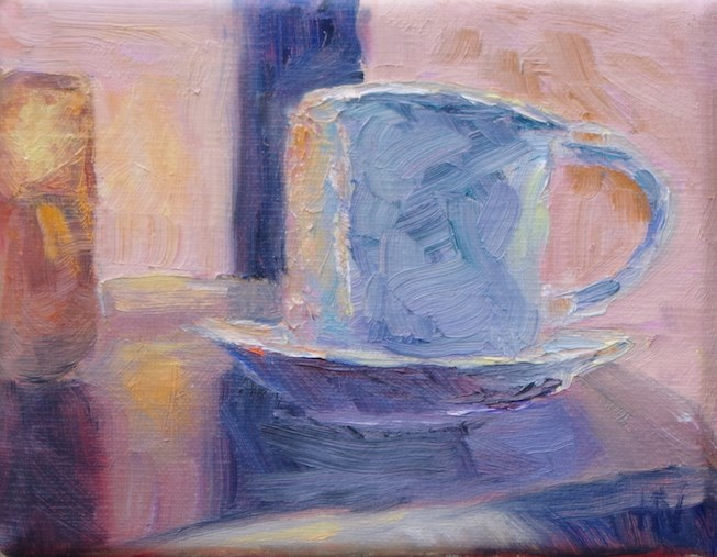 """First Cup Different Day2"" original fine art by Helen Viebrock Hamel"