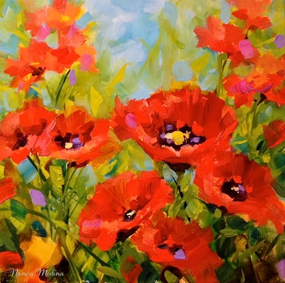 """Surrounded by Love - Red Poppies"" original fine art by Nancy Medina"