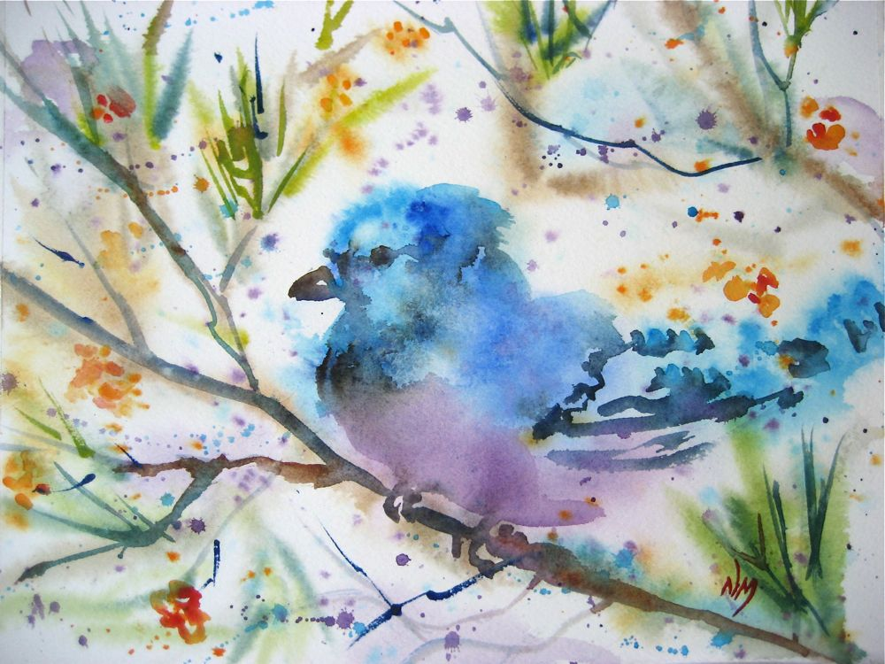 """bluejay"" original fine art by Nora MacPhail"