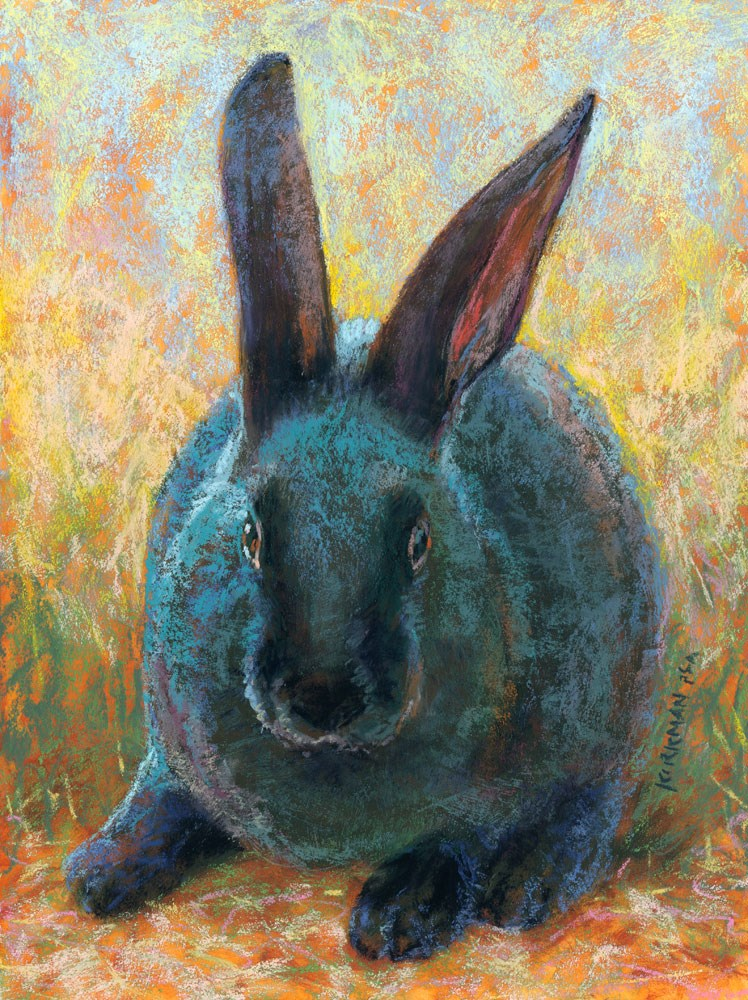 """Bubba Bunny (Real-Time Video!)"" original fine art by Rita Kirkman"
