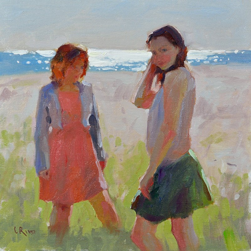 """Girls on the Beach"" original fine art by Lena  Rivo"