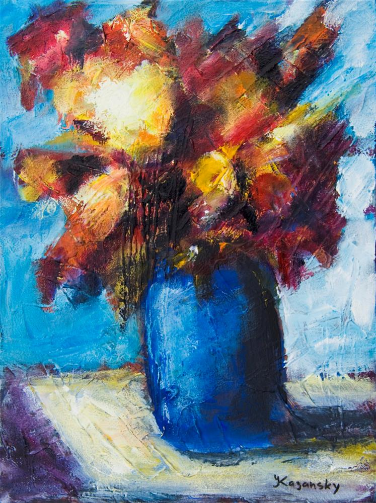 """Flowers in a blue vase"" original fine art by Yulia Kazansky"