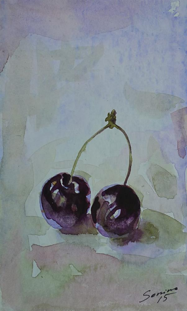 """Cherries"" original fine art by Elena Senina"