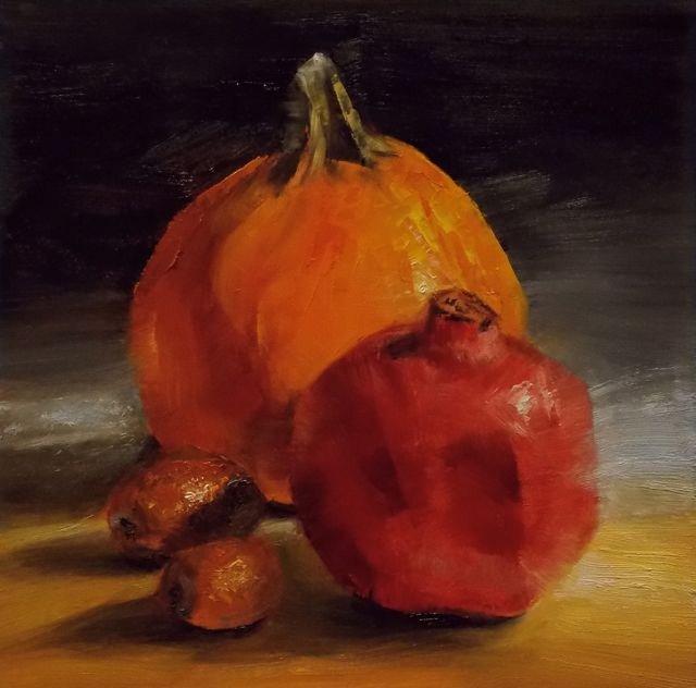 """Pumpkin, Pomegranate, and Jujubes"" original fine art by Ruth-Ann Carlock"