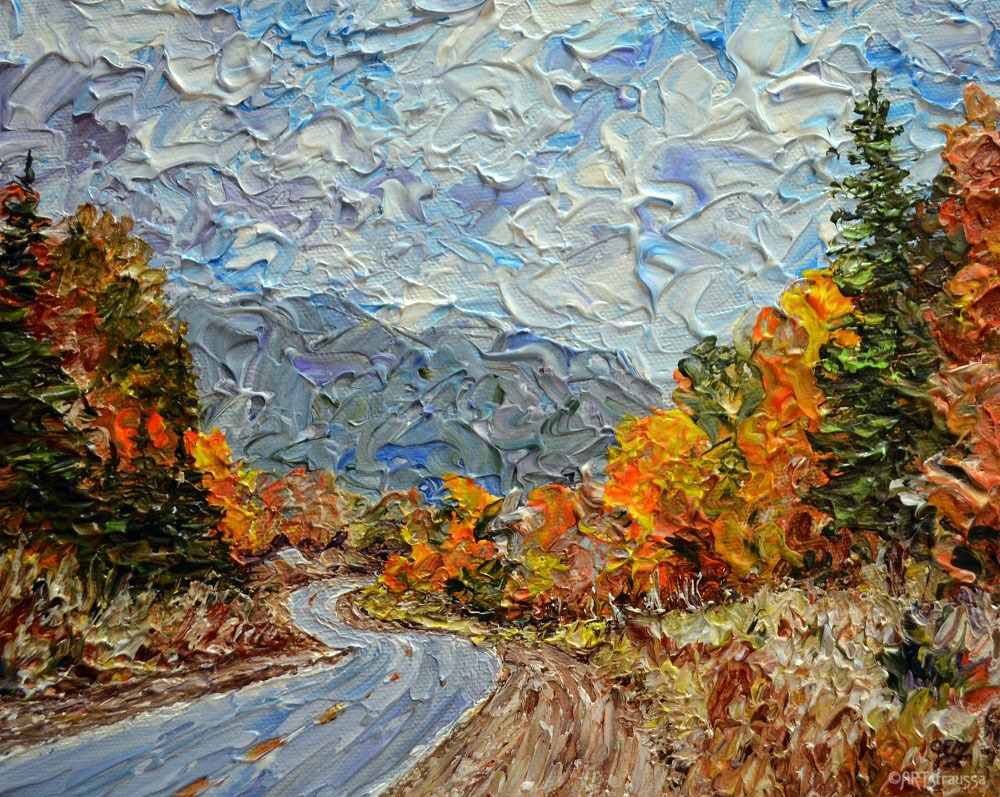 """Highway Into Autumn"" original fine art by Gloria Ester"