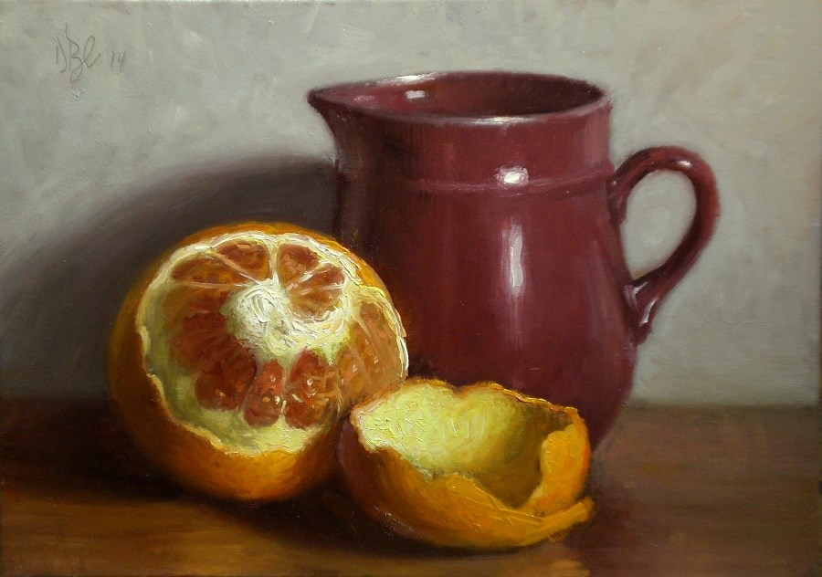 """Peeled Orange and Creamer"" original fine art by Debra Becks Cooper"