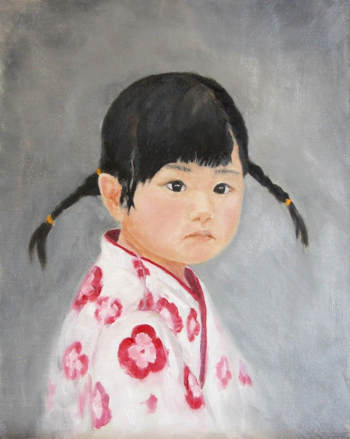 """Girl in Red Flowered Yugata"" original fine art by Mary Datum"