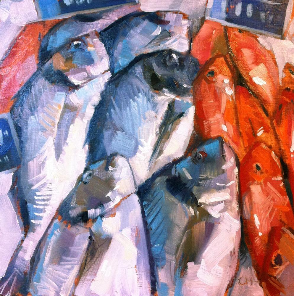 """fresh fish !"" original fine art by Catherine Harley"