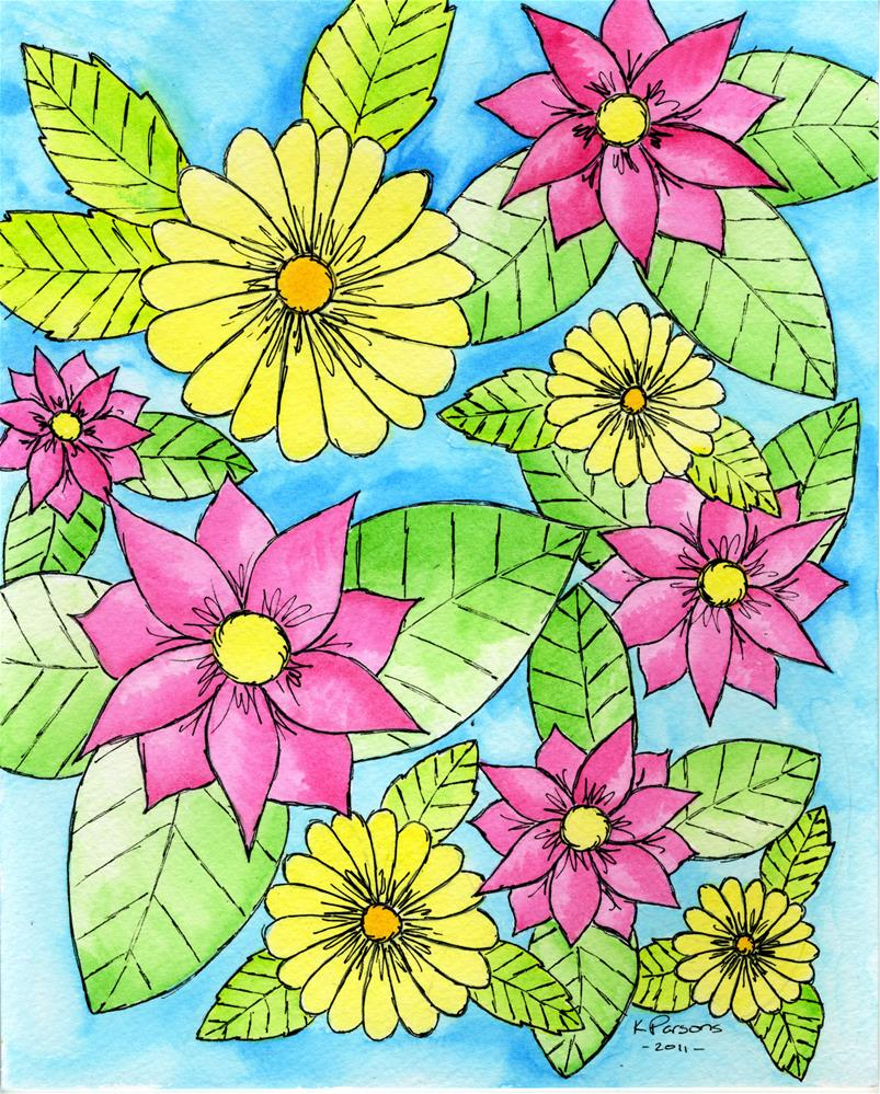 """Pink and Yellow"" original fine art by Kali Parsons"